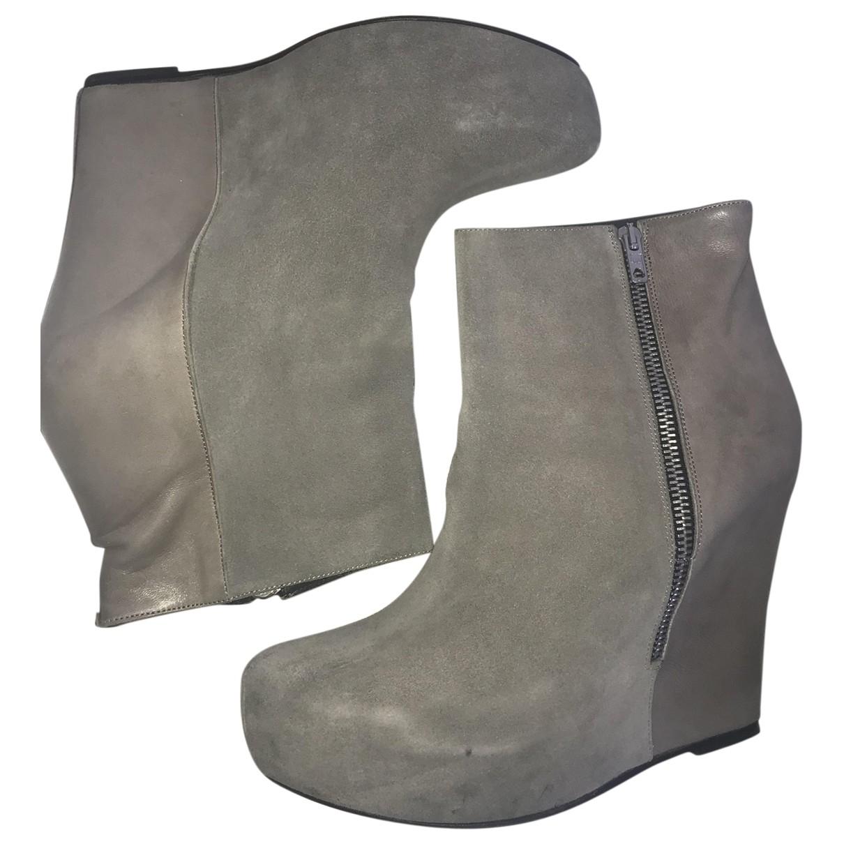 American Retro - Boots   pour femme en cuir - gris