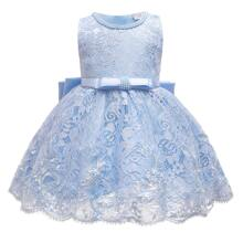 Toddler Girls Lace Overlay Big Bow Gown Dress