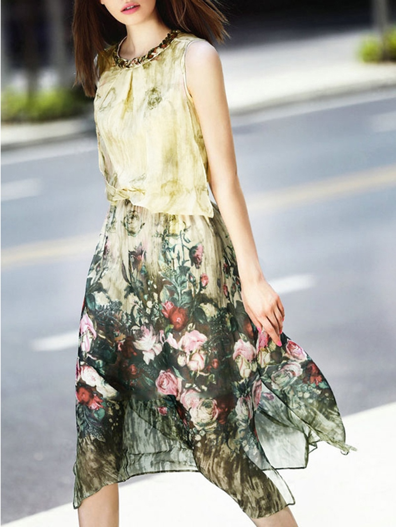 Ericdress Meryl Floral Asymmetrical Travel Look Casual Dress