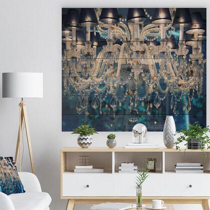 WD13874-46-36 Blue Vintage Crystal Chandelier - Flower Print On Natural Pine Wood -
