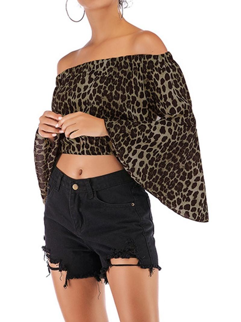 Ericdress Print Off Shoulder Flare Sleeve Short Fashion Blouse