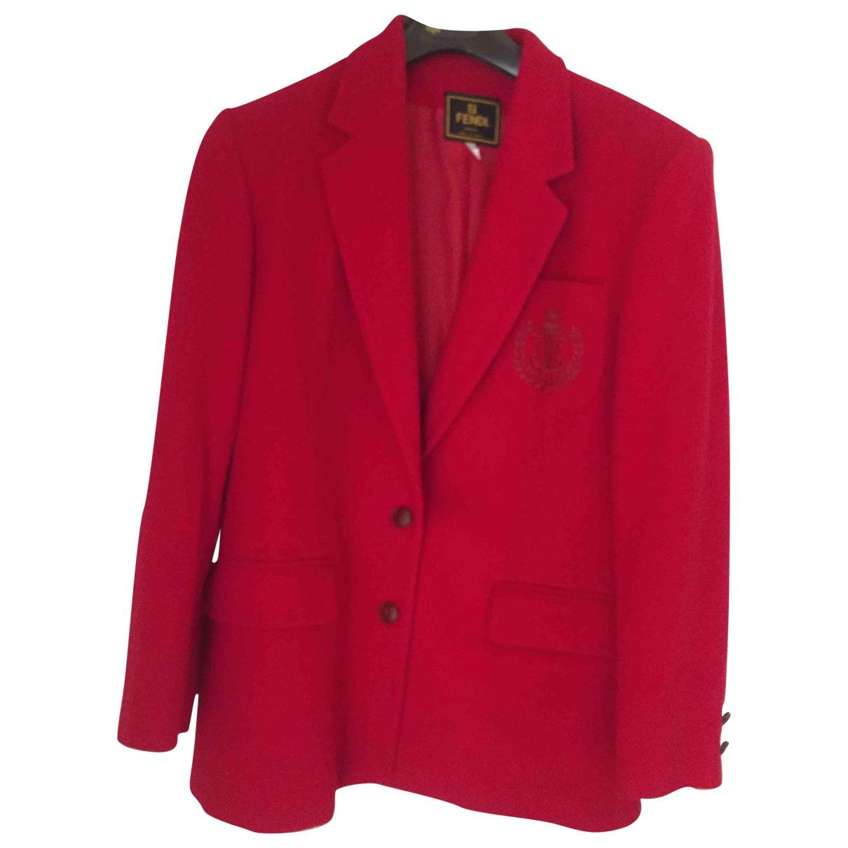Fendi \N Jacke in  Rot Wolle