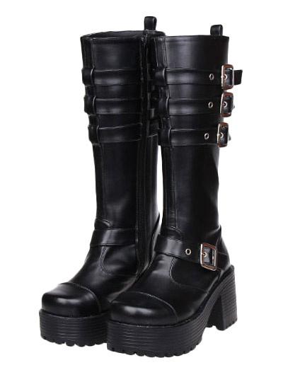 Milanoo Matte Black Lolita Boots Square Heels Boots Straps Buckles