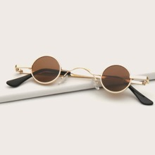 Men Round Shaped Metal Frame Sunglasses