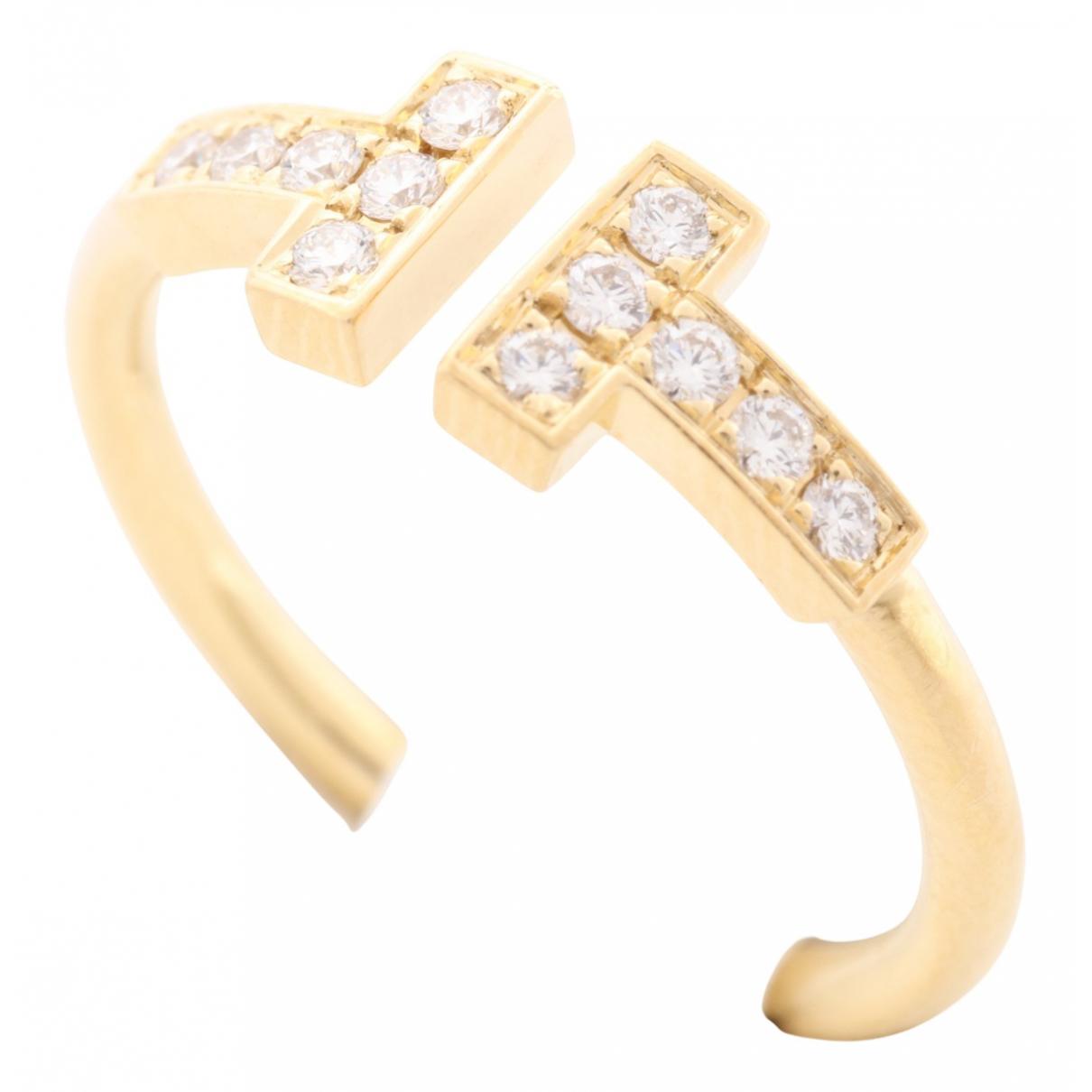 Tiffany & Co - Bague Tiffany T pour femme en or jaune - dore