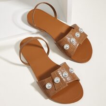 Faux Pearl Decor Croc Embossed Sandals