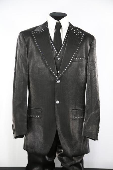 Mens Rhinestone Single Breasted Peak Lapel Black Zoot Suit
