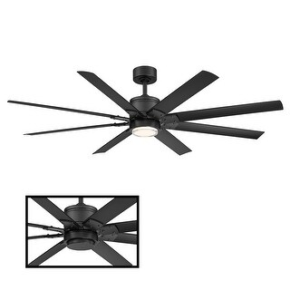 Renegade Indoor and Outdoor 8-Blade Smart Ceiling Fan 66in with 3000K LED Light Kit and Remote Control with Wall Cradle (Matte Black)