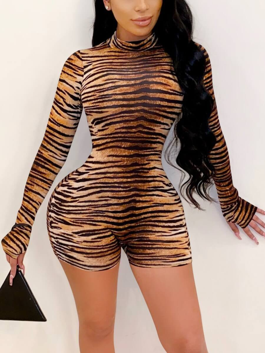 LW Lovely Chic Turtleneck Tiger Print Patchwork One-piece Romper