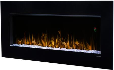 Nicole Series DWF3651B 43 Glass Front Wall-Mounted Electric Fireplace with Color Rich LED Flame  Sparkling Ember Bed  Supplemental Heat and