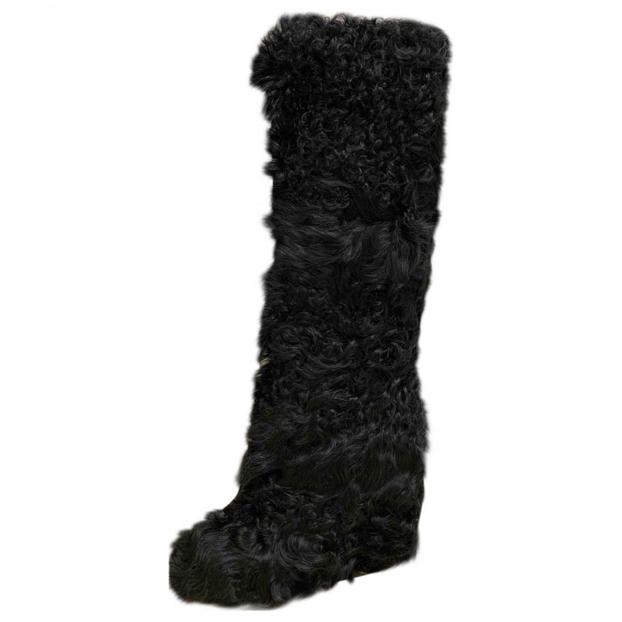 A.f.vandevorst \N Stiefel in  Schwarz Mongolisches Lamm