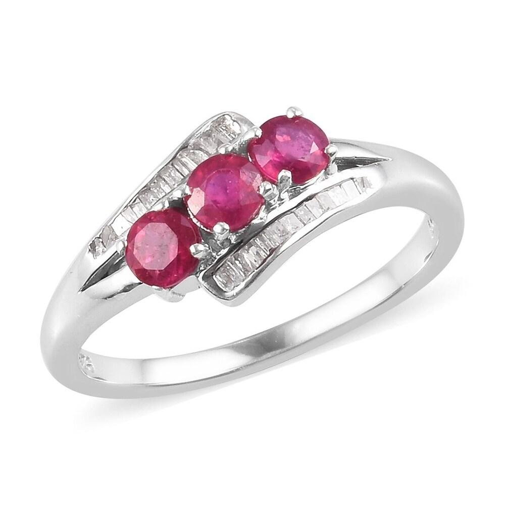 Sterling Silver Fissure Filled Ruby White Diamond Ring Ct 1.2 (Ring 7)