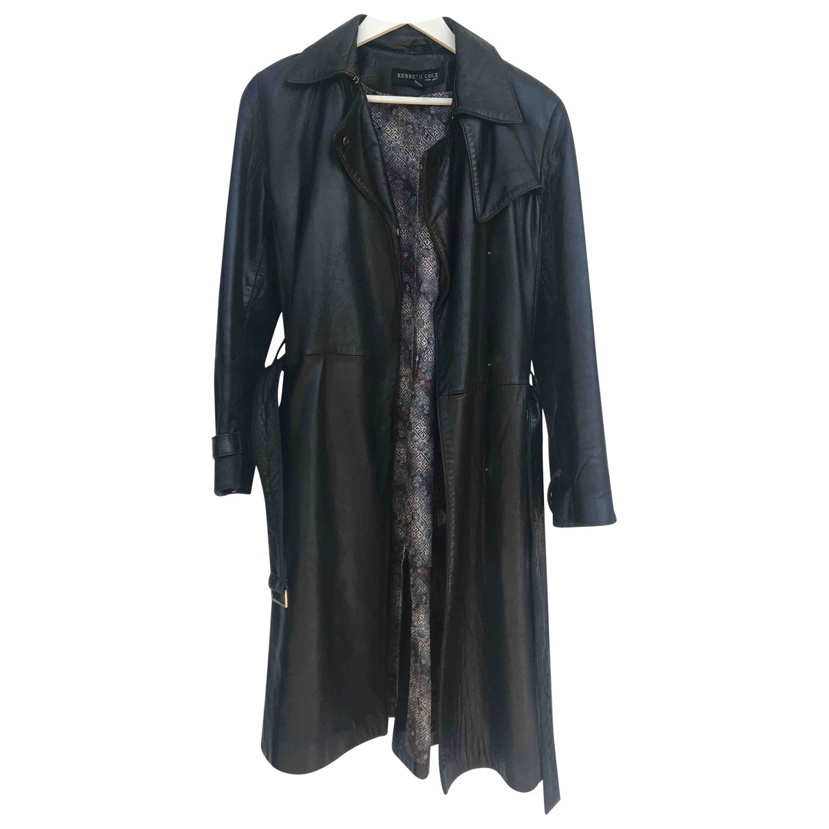 Kenneth Cole \N Black Leather Trench coat for Women S International