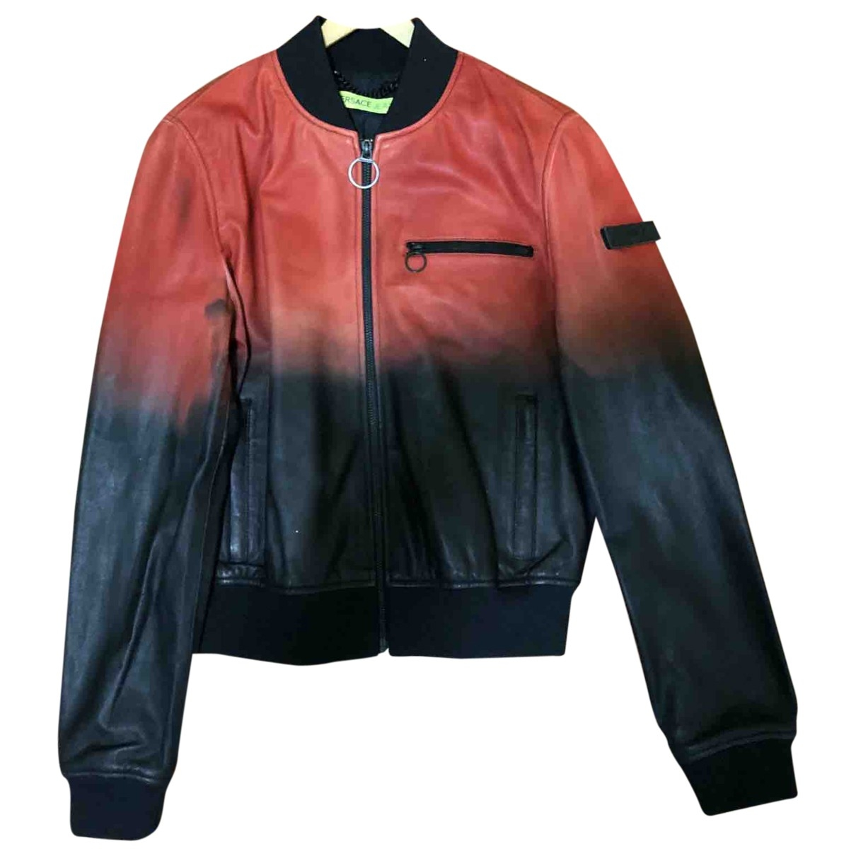 Versace Jeans \N Red Leather Leather jacket for Women 40 IT