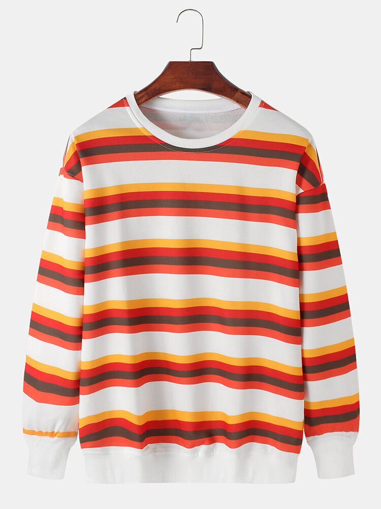 Mens Multi-Color Striped Cotton Relaxed Fit Crew Neck Pullover Sweatshirts