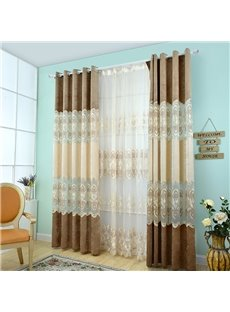 High Quality Beige 2-Pieces Jacquard Grommet Top Sheer Curtain