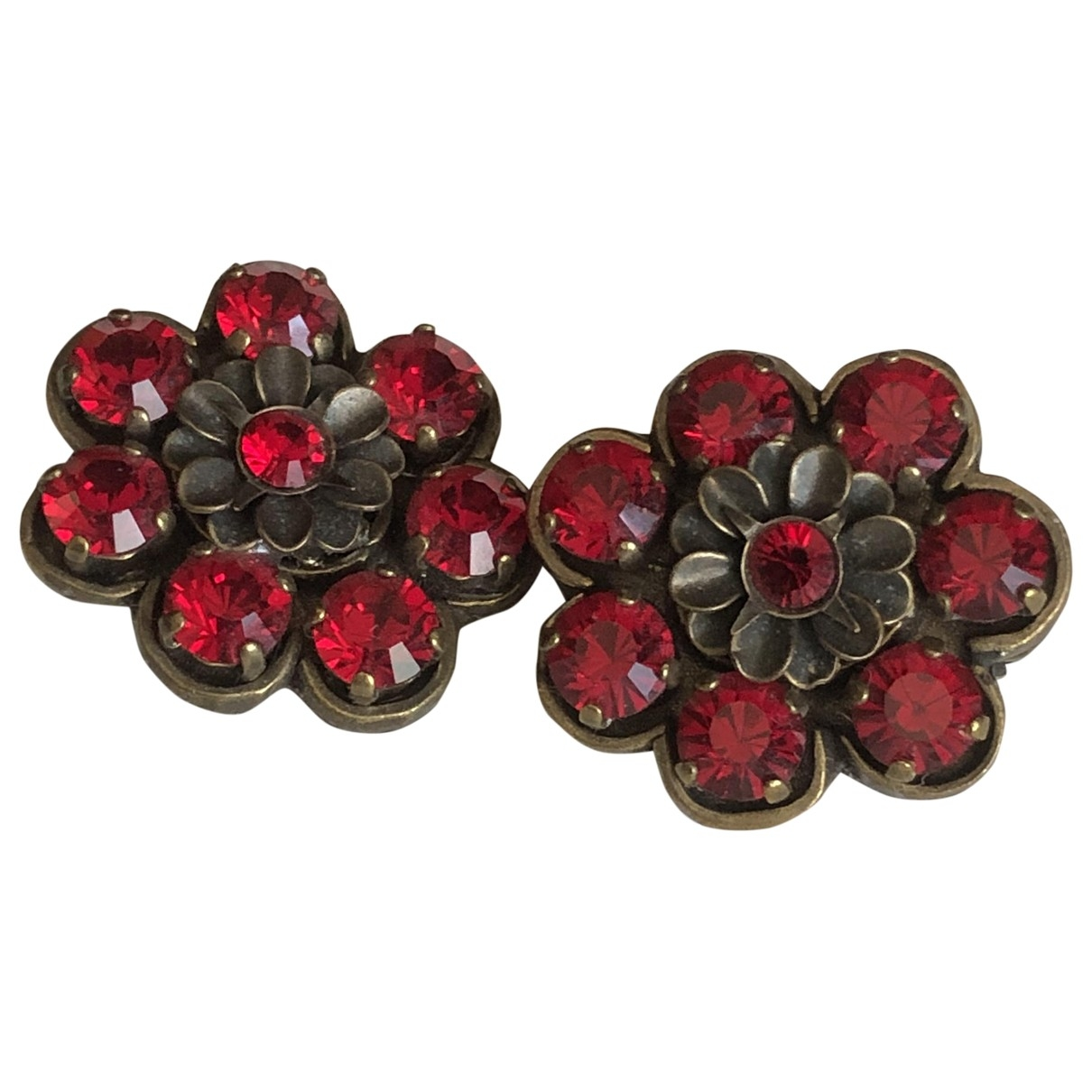 Non Signé / Unsigned \N Red Metal Earrings for Women \N