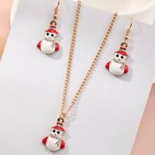 1 Stueck Halskette mit Weihnachtsschneemann Anhaenger & 1 Paar Ohrringe