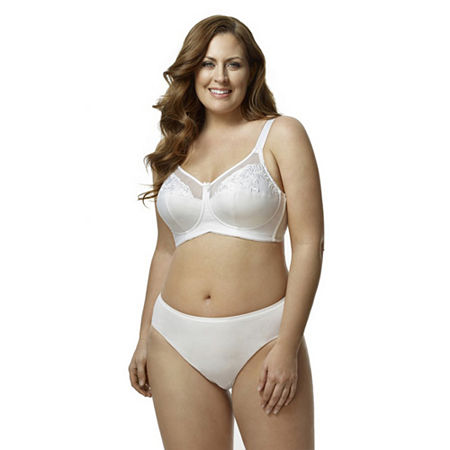 Elila Embroidered Microfiber Softcup Full Coverage Bra, D , White