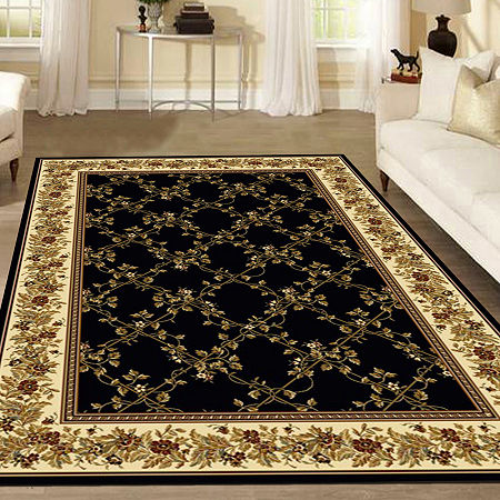 Noble Scroll Traditional Oriental Area Rug, One Size , Black