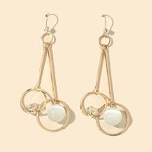 Rhinestone Decor Ball Drop Earrings
