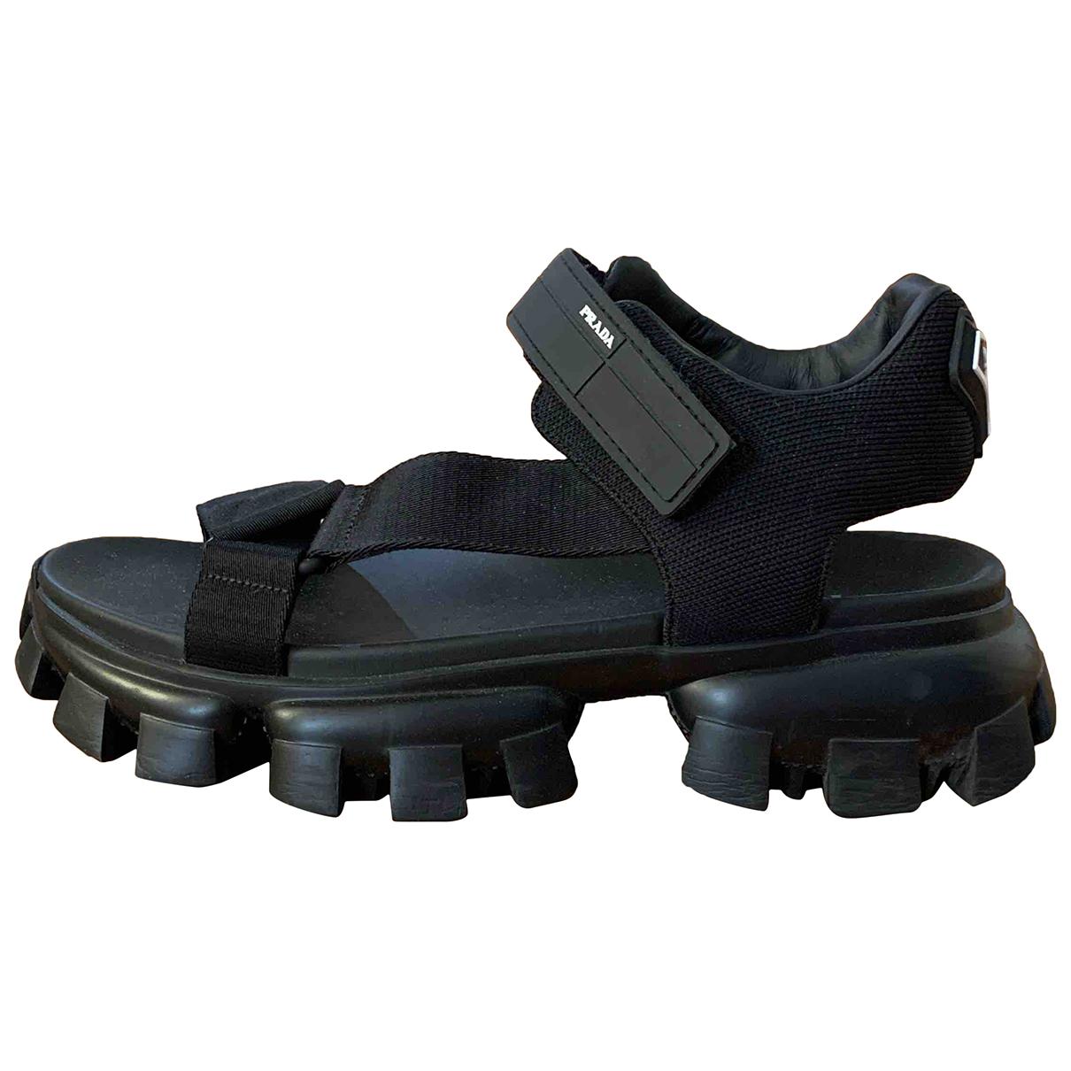 Prada N Black Leather Sandals for Men 10 US