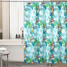 1pc Leaf Print Shower Curtain