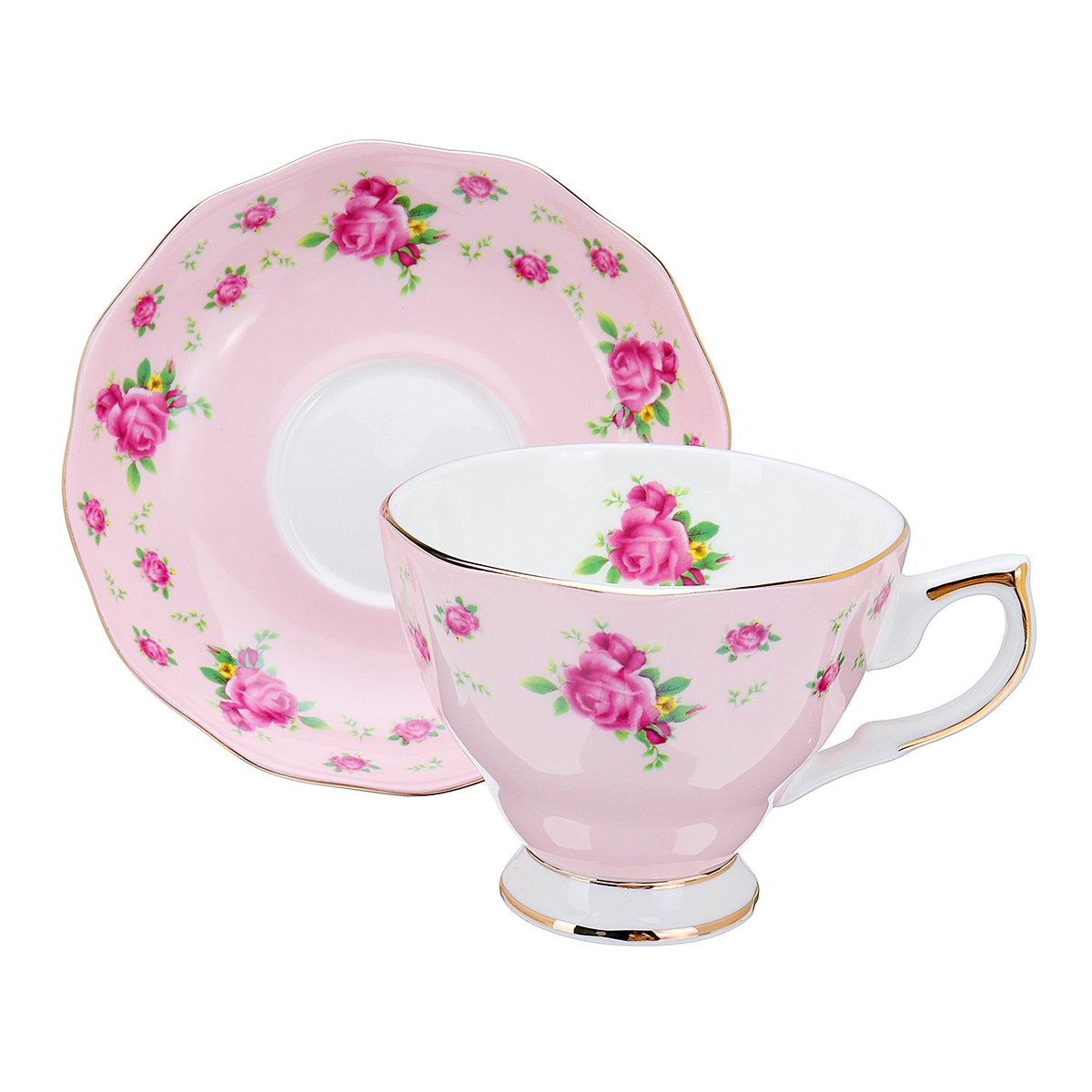 Porcelain Fashion British Bone China Coffee Cup Saucer Ceramic Flower Tea Set