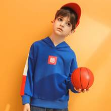 Boys Chinese Letter Graphic Contrast Sideseam Hoodie