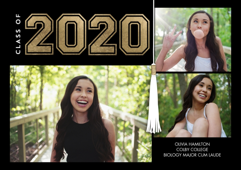 2020 Graduation Announcements 5x7 Cards, Standard Cardstock 85lb, Card & Stationery -2020 Grad Collegiate by Tumbalina
