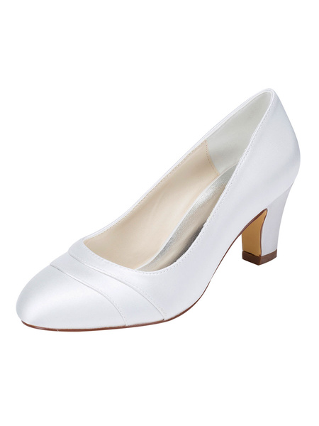 Milanoo Ivory Wedding Shoes Satin Round Toe Chunky Heel Slip On Bridal Shoes