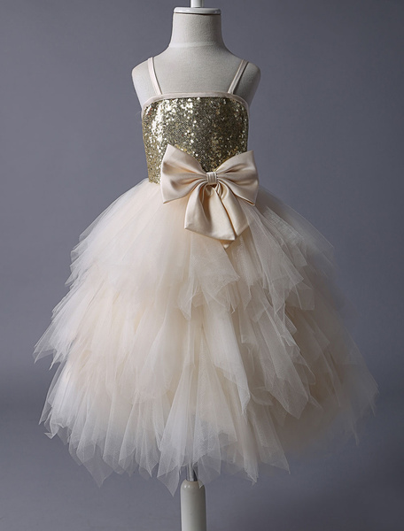 Milanoo Thin Straps Gold Sequin Champagne Tulle Ruffle Flower Girl Dress