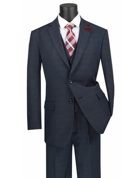 Plaid ~ Window Pane 2 button Vested 3 Piece Suit Regular Fit Blue