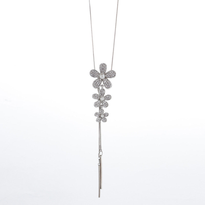 Elegant Dazzling Diamond Flower Pearl Necklaces Three Flowers Tassel Long Sweater Necklace for Women