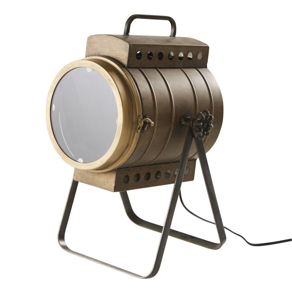Lampe im Scheinwerfer-Look aus Metall, bronzefarben in gealterter Optik