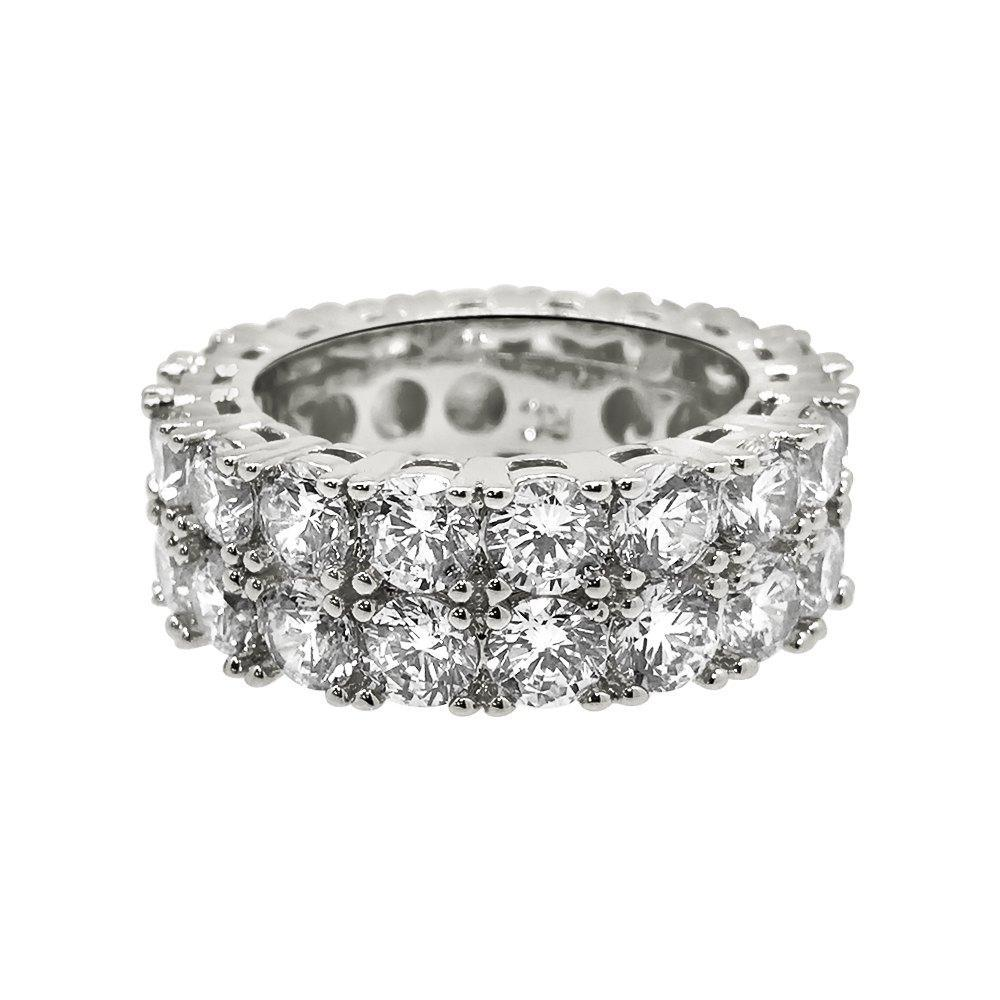 Double Eternity Band 360 Rhodium CZ Bling Bling Ring