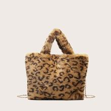 Bolsa tote con estampado de leopardo