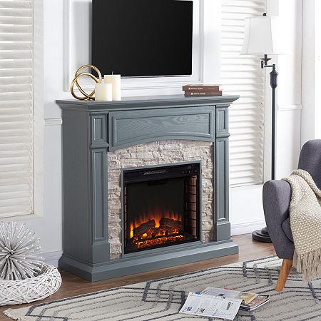 Sheldon Electric Fireplace, One Size , Gray