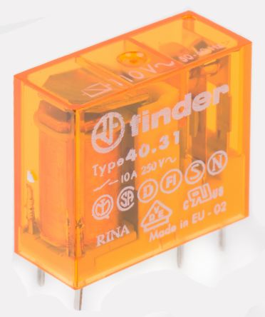 Finder , 110V ac Coil Non-Latching Relay SPDT, 10A Switching Current PCB Mount Single Pole