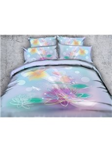 3D Watercolor Lotus and Dragonfly Printed Cotton 5-Piece Comforter Sets