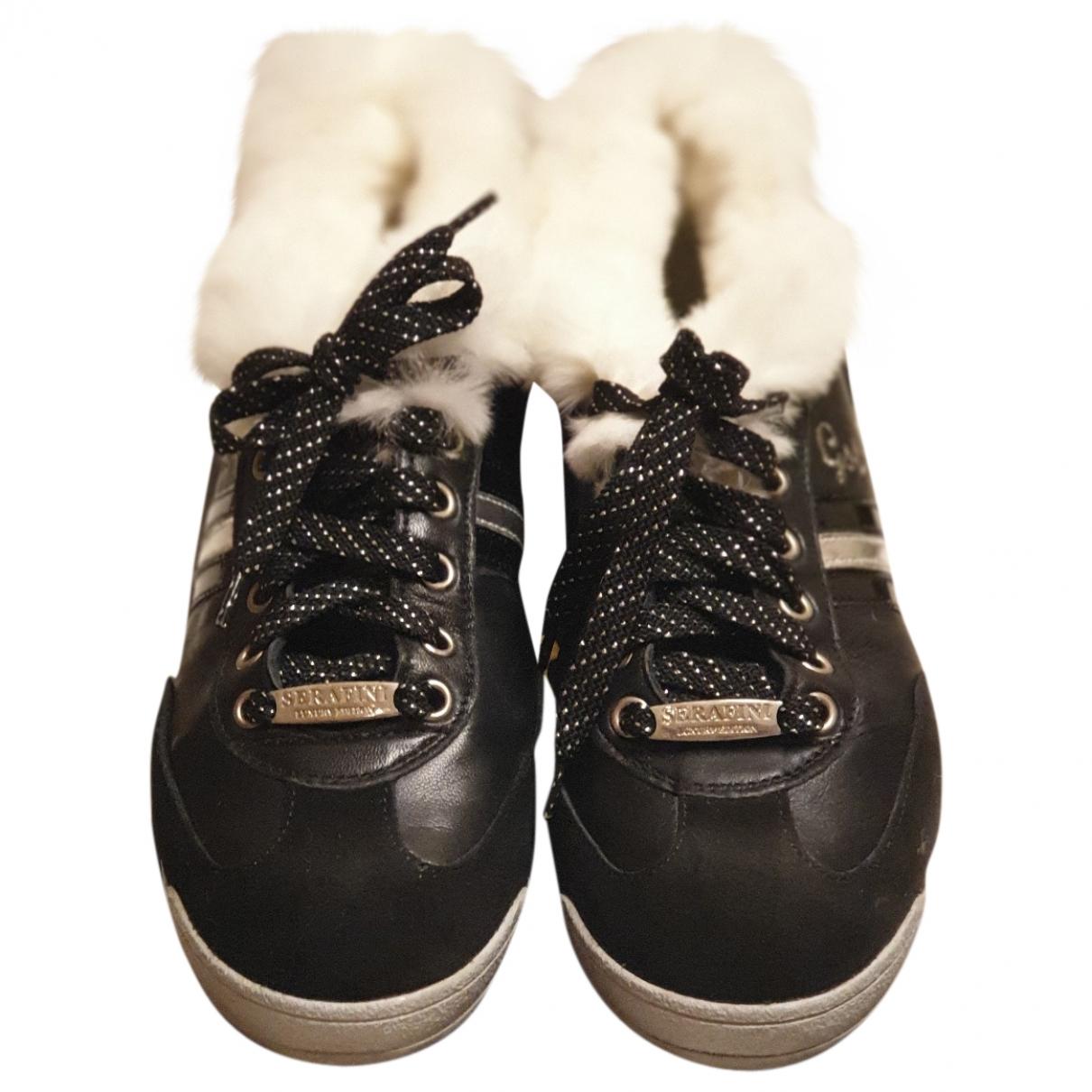 Serafini \N Black Leather Trainers for Women 39 EU