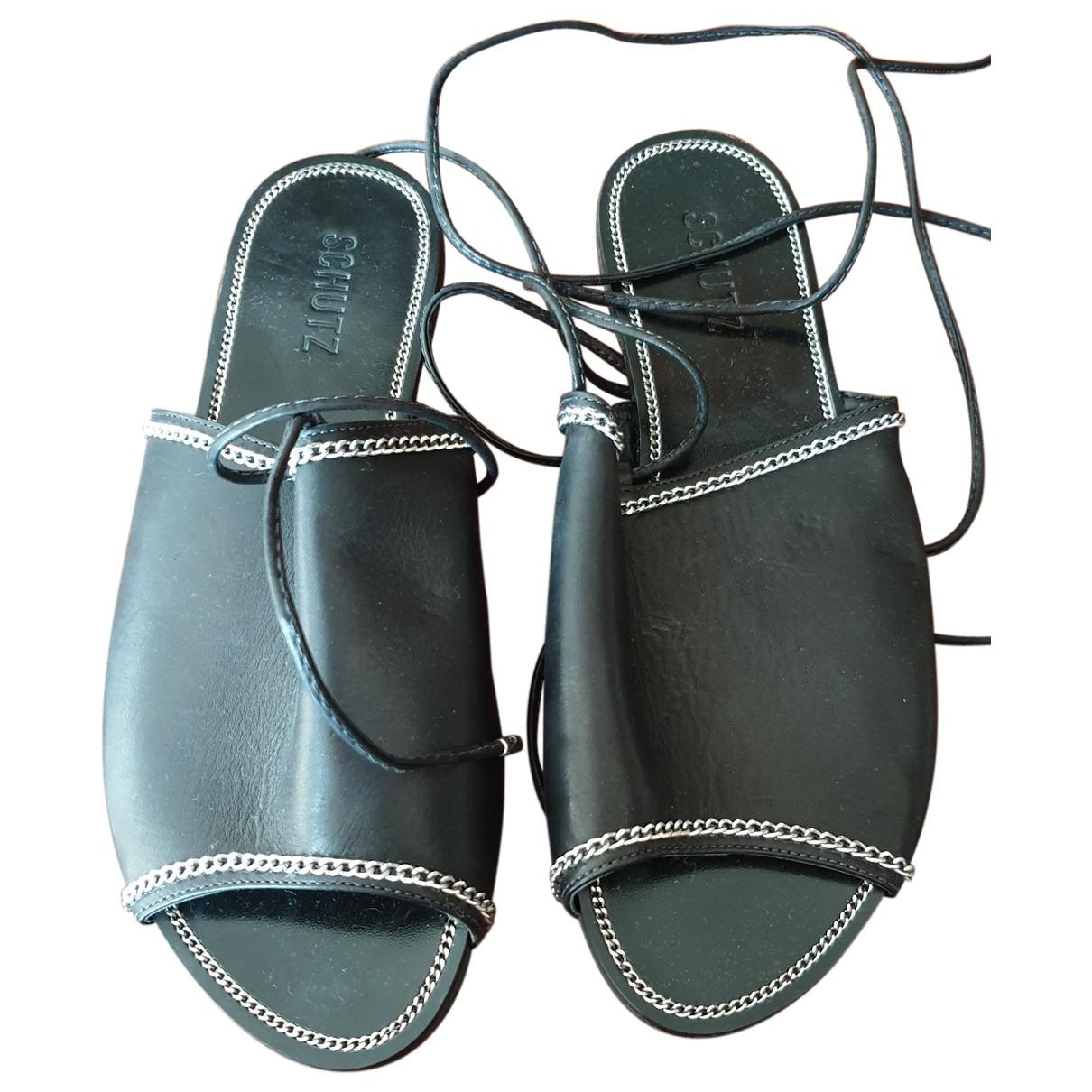 Schutz - Sandales   pour femme en cuir - noir