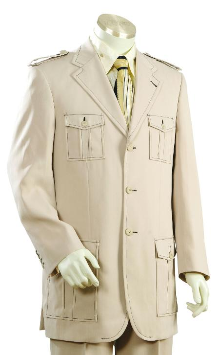 3 Button Taupe Safari Long Sleeve Military Style Suit Mens