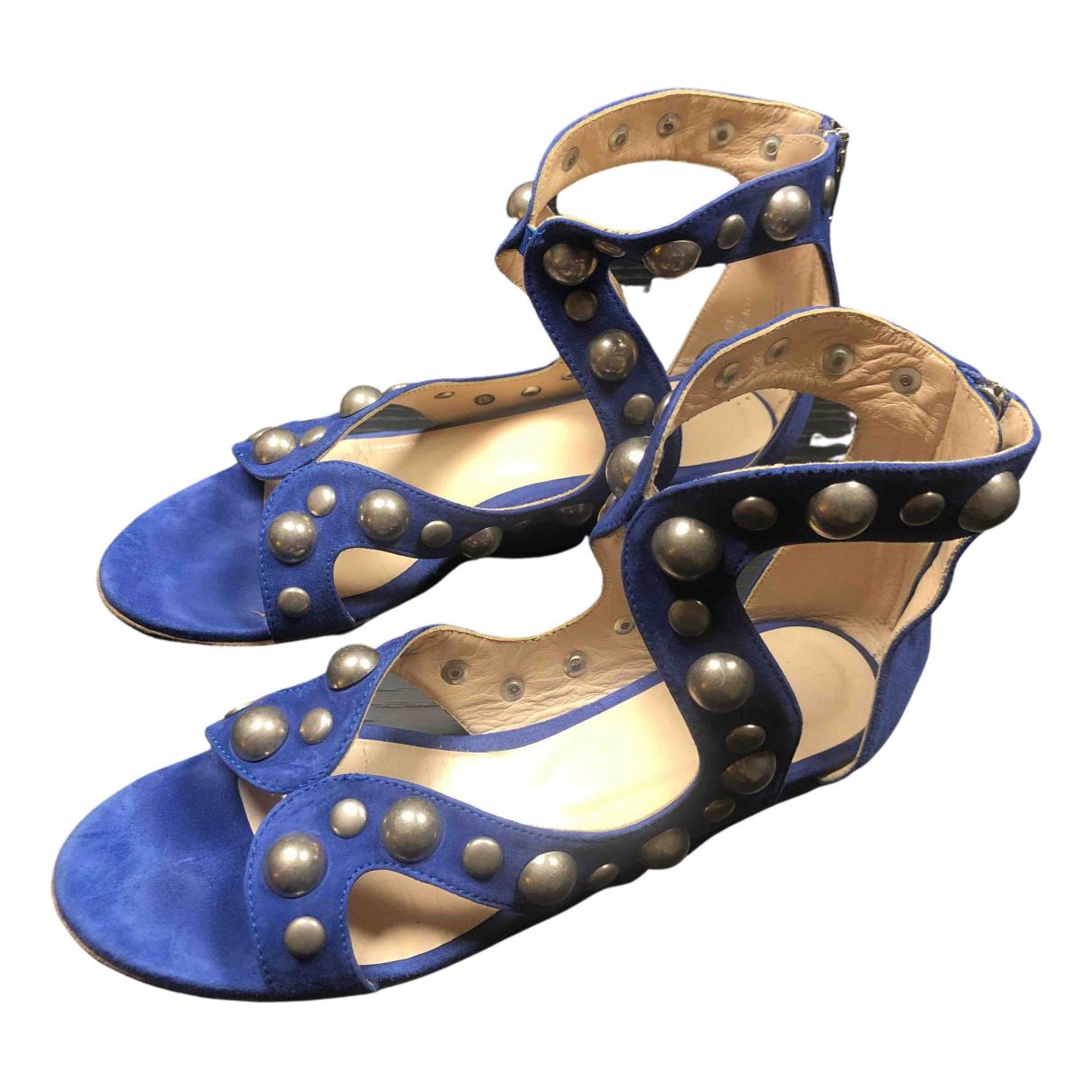 Uterque - Sandales   pour femme en suede - bleu
