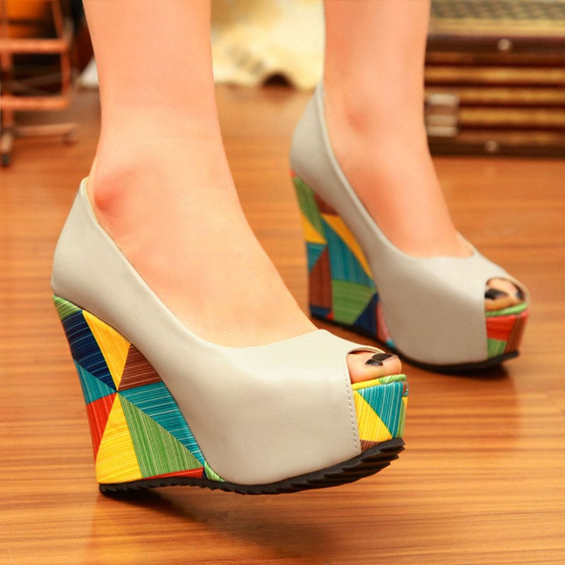 Ericdress Platform Wedge Heel Peep Toe Sweet Thin Shoes