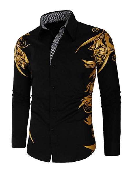 Milanoo Men\'s Casual Shirt Turndown Collar Printed White Men\\'s Shirts
