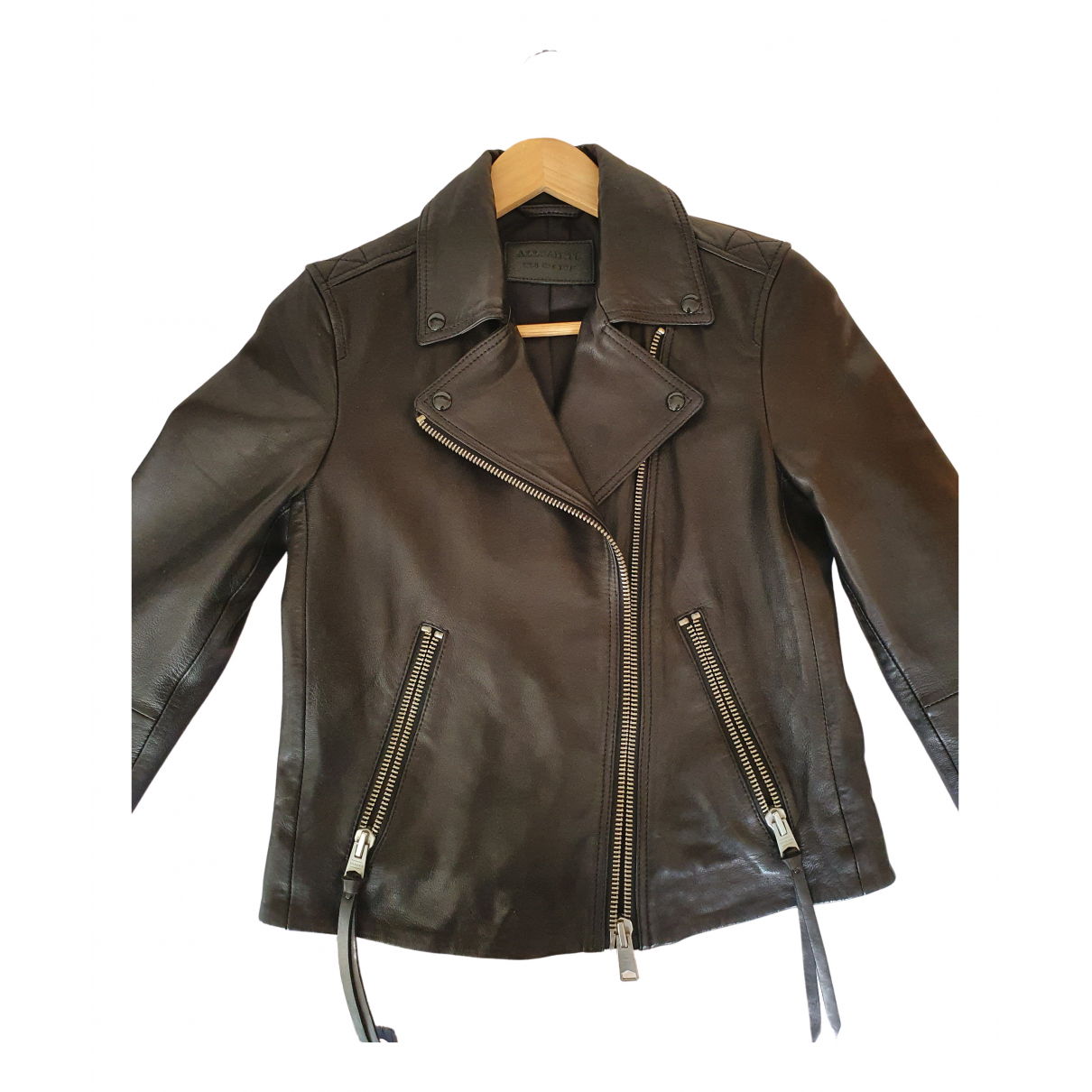All Saints N Black Leather Leather jacket for Women S International
