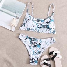 Marble Print Cami Bikini Swimsuit
