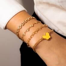 4 Stuecke Armband mit Herzen Dekor und Kette