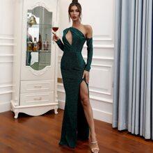 Asymmetrical Neck Cut-out Split Thigh Glitter Prom Dress